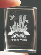 """WORLD TRADE CENTER 3D Look CRYSTAL Laser Cube """"I LOVE NEW YORK"""" Glass Weight NEW"""
