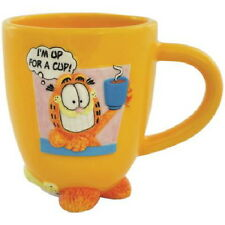 Garfield the Cat I'm Up For A Cup! 12 oz Ceramic Coffee Mug with Feet NEW UNUSED