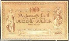 De Javasche Bank 1000 Gulden 1904 Trial Proof Series Reproduction Note ART PAPER
