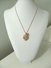 Rose Gold Necklace Chain Skull Cross Simulated Topaz Gemstone Pendant 18""