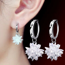 Beautiful 925 Sterling Silver Natural Crystal Ice Flowers Ear Hoop Earrings