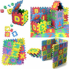 36Pcs Mini Puzzle Alphabet Letters Numeral Set Foam Mat Jigsaw Kid Educational