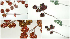 Vintage Glass Bead Wired DAISY Picks Christmas Craft Supply Feather Tree tiny