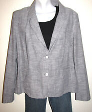 Eddie Bauer Two Button Casual Cotton Gray Blazer Great with Jeans! Size 20