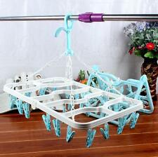24 Clips Hanger Hanging Rack Laundry Bra Windproof Drying Clothes Socks New