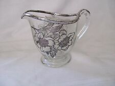 Silver City Flanders magnolia sterling silver inlaid glass creamer