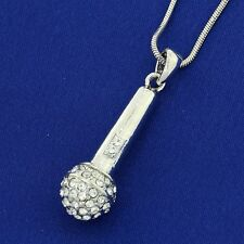 Microphone W Swarovski Crystal Music Star Singer Band Mic New Pendant Necklace