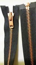 Zippers. No 8 zip with copper teeth. Open end 18 inches. 45 cm long. YKK