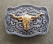 BULL HEAD LONG HORN SILVER AND GOLD WESTERN COWBOY RODEO  BELT BUCKLE
