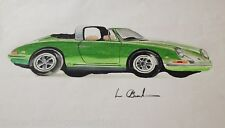 Original Color Pencil Drawing Green Porsche 911 Carrera Targa Sports Car
