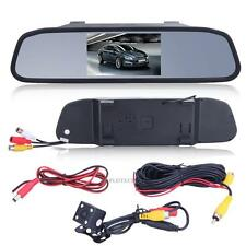 "4.3"" TFT LCD SCREEN CAR REAR VIEW BACKUP MIRROR MONITOR + REVERSE IR CAMERA KIT"