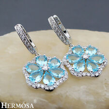 75% OFF Amazing London Blue Topaz 925 Sterling Silver Cocktail Earrings