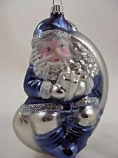 """SANTA ON MOON ORNAMENT Large 5.5"""" Blown Glass Marked GERMANY"""