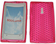 For Nokia Lumia 800 Pattern Soft Gel Case Cover Protector Pouch Pink New UK