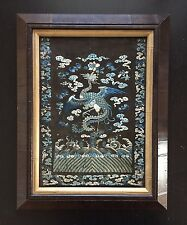 19th Antique Chinese Embroidered Silk Phoenix Robe Sleeve Rank Badge Art WOW