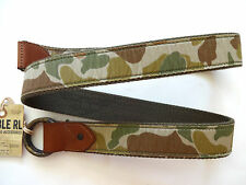 New Ralph Lauren RRL Green Camo Canvas & Leather Trim O-Ring Belt 36