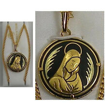 Damascene Gold Virgin Mary Round Shape Pendant Necklace by Midas of Spain 4217