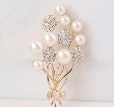 Gold Tone Rhinestone Crystal Flower Pearl Wedding Bridal Bouquet Brooch Pin