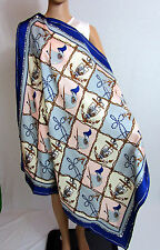 Ladies Vtg 100% Silk Chain Sailor Anchor Scarf Shawl Hand Rolled Gift Idea AM75