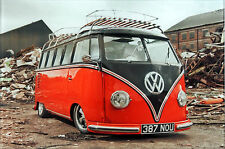VW Camper Van Surf Glass Wall Art 30 X 20cm Deco Picture - Red Metal Reclaim