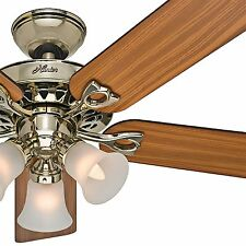 """Hunter 52"""" Bright Brass Ceiling Fan; Reversible Blades; Includes Light & Remote"""