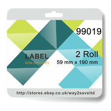2 Roll 99019 Compatible for DYMO Address Label Rolls 59mm x 190mm 110 labels