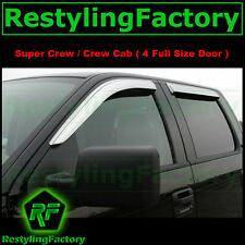 04-08 Ford F150 Crew Cab Super Crew Chrome 4 Door Window Visor Rain Sun Guard