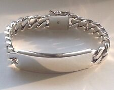 "8.5"" 85g HEAVY BIKER CUBAN CURB CHAIN LINK 925 STERLING SILVER MEN'S ID BRACELET"