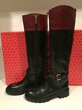 Tory Burch Daniela Riding Boots Knee High Tall Leather Black Bordeaux 5.5 M $525