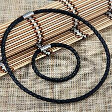 Black Leather Braided Bracelet Necklace Choker Set Magnetic Clasp 0.24""