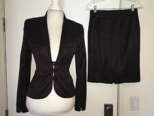 ZAC POSEN Rich Brown Wool Suit Pencil Skirt size 4 6 silk fully lined 3 button