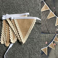 Vintage Shabby Chic Hessian Burlap Banner Rustic Wedding Party Bunting Decor Hot