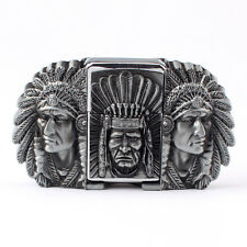 Vintage Lighter Indian Warrior Men's Belt Buckle Cowboy Native American (IW-02S)