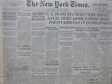 4-1942 WWII April 17 U.S. STAND ON VICHY  - LAVAL - FOE INVASION PANAY NY TIMES