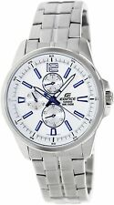 Casio EF343D-7A Edifice Mens White 100M Stainless Steel Sports Dress Watch NEW