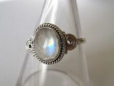 Solid Sterling 925  Silver Moonstone Ring Size L.   Feminine.