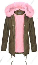 NEW Womens Oversized Hood Pink Fur Parka Coat Ladies Khaki Jacket Size 8 to 16