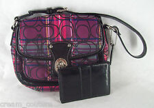 Coach 15477 Tartan Penny Flap Top Handle Pouch & 60567 Case Card Wallet Set