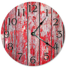 "RED BARN WOOD Clock - Large 10.5"" Wall Clock - 2267"