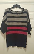 Spense sweater XL short sleeve crewneck striped rayon black gray pink