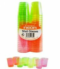 40 x Disposable Plastic Neon Color Shot Glasses 30ml Hen Party Jelly Drink Cup