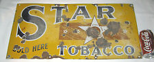 ANTIQUE STAR TOBACCO PORCELAIN STORE ADVERTISING ART SIGN TEXAS SMOKING CIGAR