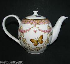 NEW GRACE PINK+GOLD YELLOW FLOWER+BUTTERFLY PORCELAIN TEA,COFFEE POT-5 CUPS