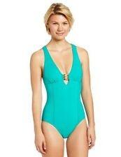 NWT! Trina Turk One Piece Plunge Gold Hardware Green Swimsuit Bathing Suit,  8