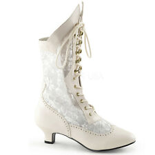 "2"" Gold Lace Up Victorian Wedding Vintage Walking Boots Costume size 7 8 9 10 11"