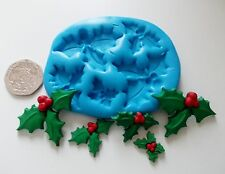 CHRISTMAS HOLLY Leaves Mould Sugarcraft Chocolate Fondant Sugarpaste Icing Fimo