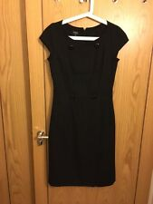 Hobbs Size 10 Black 100% Wool Fitted Shift Dress with Button Detail & Front Slit