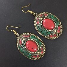 VINTAGE ETHNIC JEWELRY TIBETAN SOLID BRASS MALACHITE-CORAL ETHNIC EARRING AJ60