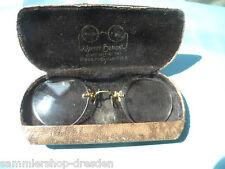 24010 Alte Brille, Kneifer, um 1900 Etui Double Optikel Hempel Riesa