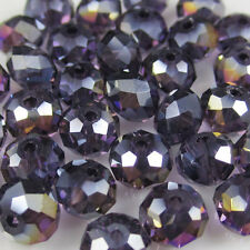 New 30pcs Faceted  Rondelle glass crystal #5040 6x8mm Beads Purple AB colors PEA